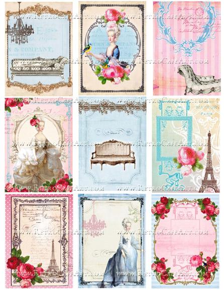 ATC French Backgrounds Collage Sheet by Cassandra VanCuren - CV76