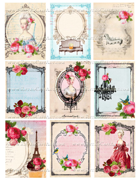 ATC French Backgrounds II Collage Sheet by Cassandra VanCuren - CV77