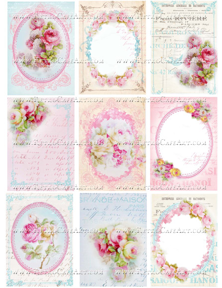Rose ATC Backgrounds Collage Sheet by Cassandra VanCuren - CV79