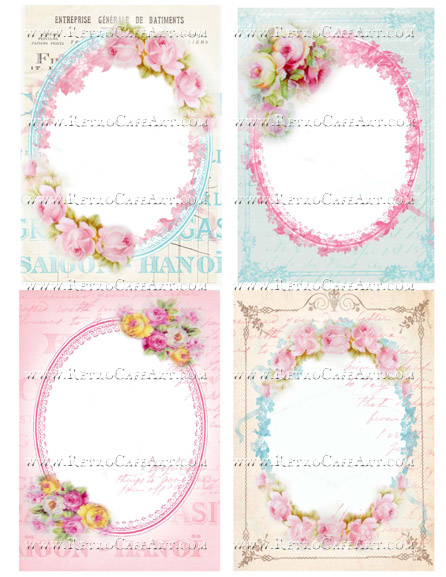 Large Rose Backgrounds Collage Sheet by Cassandra VanCuren - CV80