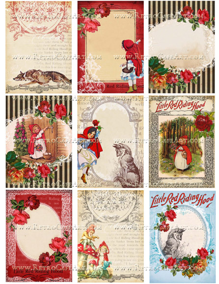 Little Red Riding Hood ATC Backgrounds Collage Sheet by Cassandra VanCuren - CV82