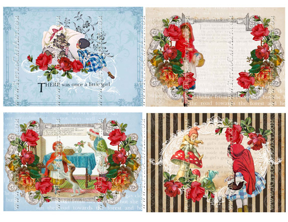 Little Red Riding Hood Large Backgrounds Collage Sheet by Cassandra VanCuren - CV83