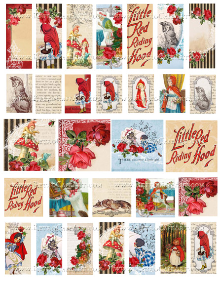Little Red Riding Hood Charms Collage Sheet by Cassandra VanCuren - CV84
