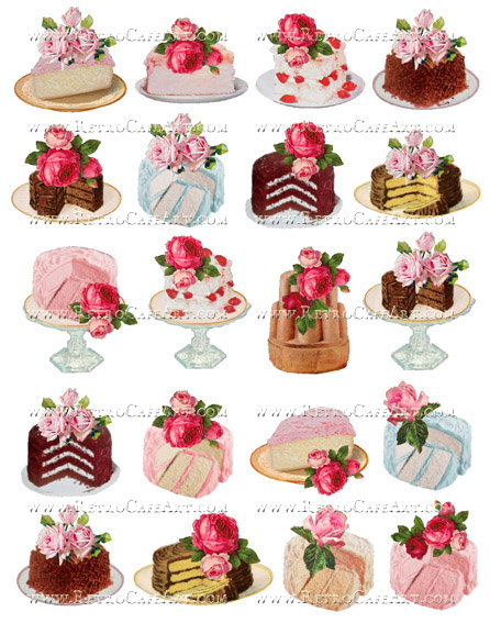 Rosey Cakes Collage Sheet by Cassandra VanCuren - CV9
