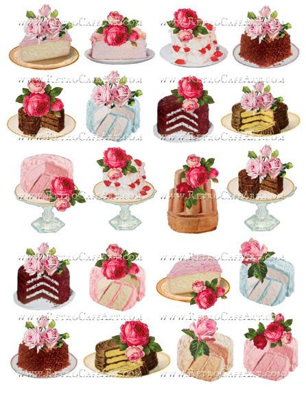 Rosey Cakes Collage Sheet by Cassandra VanCuren - CV9