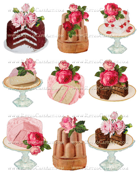 Large Rosey Cakes Collage Sheet by Cassandra VanCuren - CV94