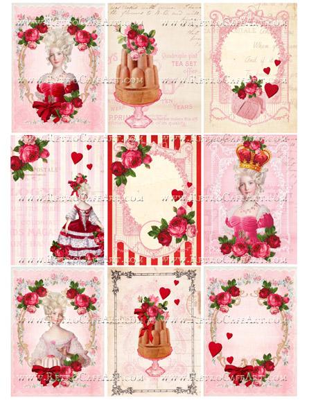 Valentine Marie Antoinette Backgrounds Collage Sheet by Cassandra VanCuren - CV97