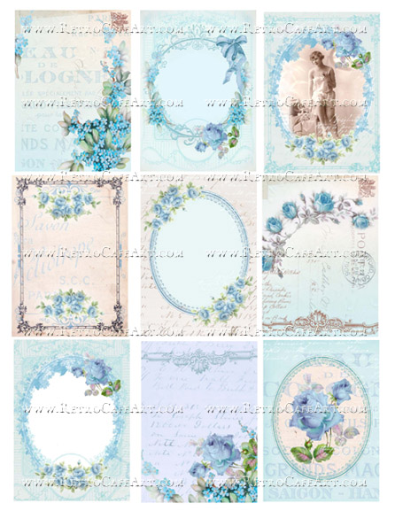 Gorgeous Blue Backgrounds Collage Sheet by Cassandra VanCuren - CV98