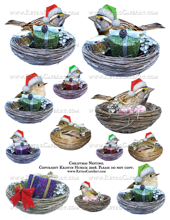 Christmas Nests Digital Collage Sheet