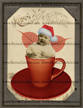 Cup of Christmas Cabinet Card Digital Fairy Image
