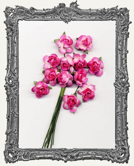 Hot Pink Mini Paper Roses - 12