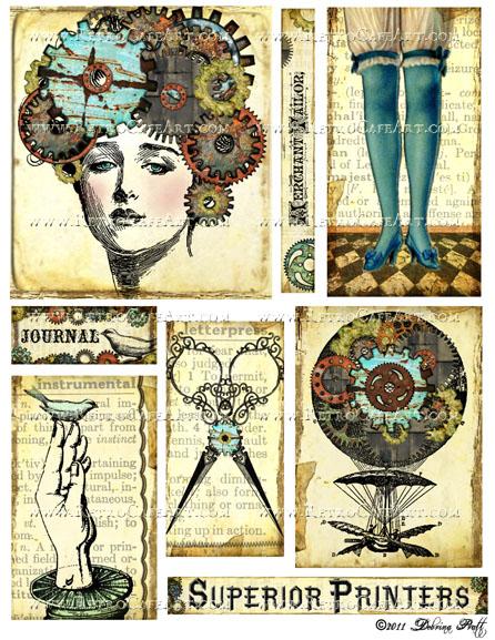 Gear Head Steampunk Collage Sheet by Debrina Pratt - DP267