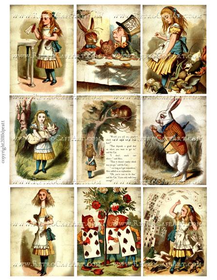 Alice in Wonderland ATC Size Collage Sheet by Debrina Pratt - DP270