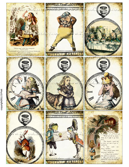 Alice in Wonderland ATC Size Collage Sheet by Debrina Pratt - DP271