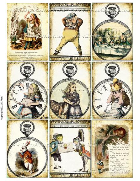 Alice in Wonderland ATC Size Collage Sheet by Debrina Pratt - DP271