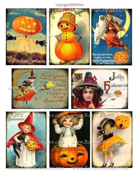 Vintage Halloween ATC Size Collage Sheet by Debrina Pratt - DP283