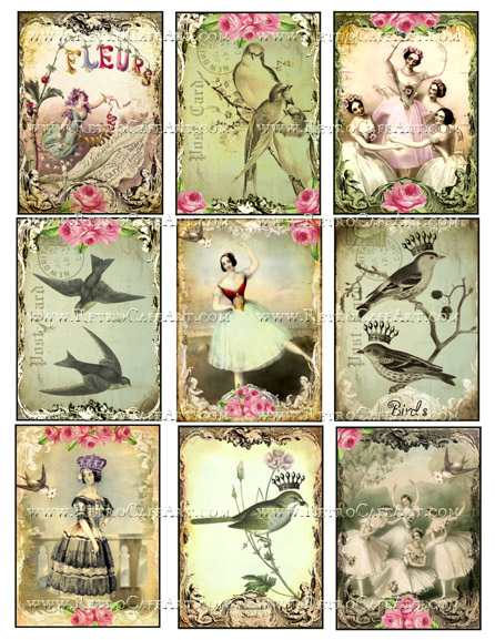 Dancers ATC Size Collage Sheet by Debrina Pratt - DP285