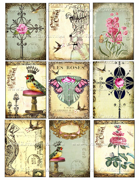 Roses ATC Size Collage Sheet by Debrina Pratt - DP287