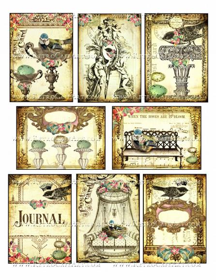 Ornate Birds ATC Size Collage Sheet by Debrina Pratt - DP288