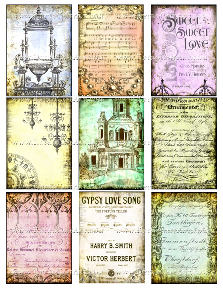 Elegant Backgrounds ATC Size Collage Sheet by Debrina Pratt - DP289