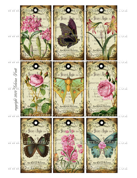 Butterfly Tags Collage Sheet by Debrina Pratt - DP290
