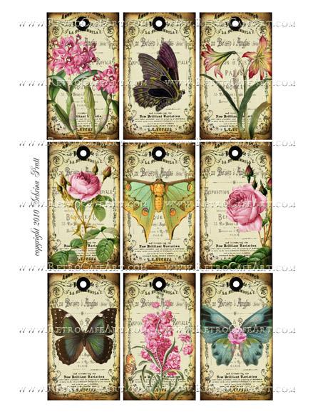 Butterfly Tags Collage Sheet by Debrina Pratt - DP290