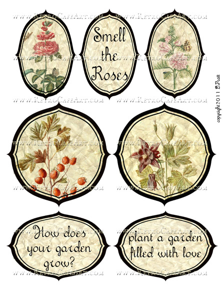 Floral Labels Collage Sheet by Debrina Pratt - DP292