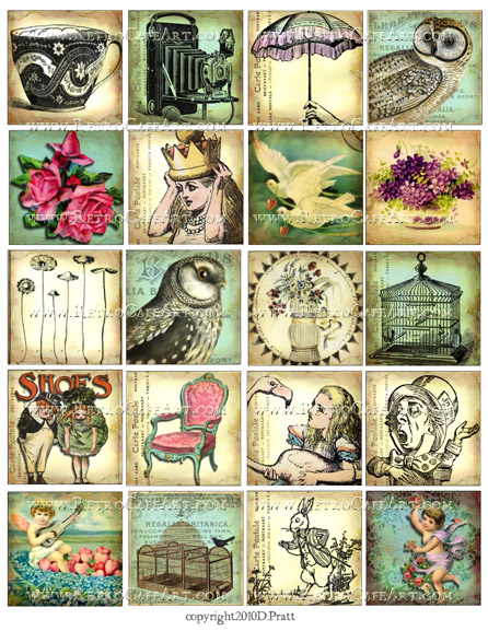 Whimsical Squares Collage Sheet by Debrina Pratt - DP293