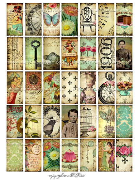 Whimsical 1 x 2 Inch Domino Collage Sheet by Debrina Pratt - DP294