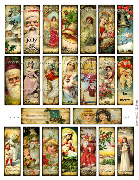 1 x 3 Inch Christmas Microslides Collage Sheet by Debrina Pratt - DP295