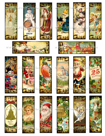 1 x 3 Inch Christmas Microslides Collage Sheet by Debrina Pratt - DP296