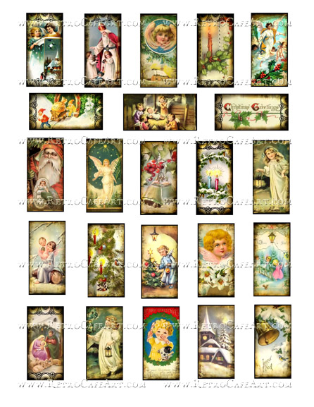 1 x 2 Inch Christmas Domino Collage Sheet by Debrina Pratt - DP297
