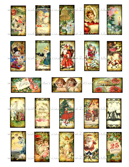 1 x 2 Inch Christmas Domino Collage Sheet by Debrina Pratt - DP298