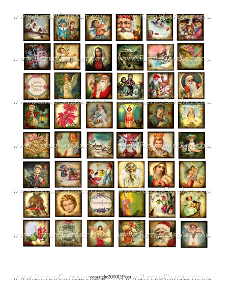 1 Inch Christmas Squares Collage Sheet by Debrina Pratt - DP299