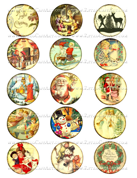 2 Inch Christmas Circles Collage Sheet by Debrina Pratt - DP300