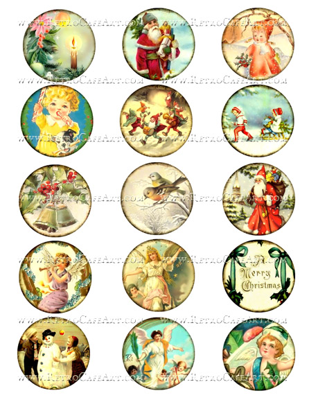 2 Inch Christmas Circles Collage Sheet by Debrina Pratt - DP301