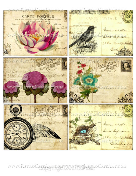 Vintage Floral Postcards Collage Sheet by Debrina Pratt - DP311