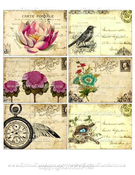 Vintage Floral Postcards Collage Sheet by Debrina Pratt - DP311