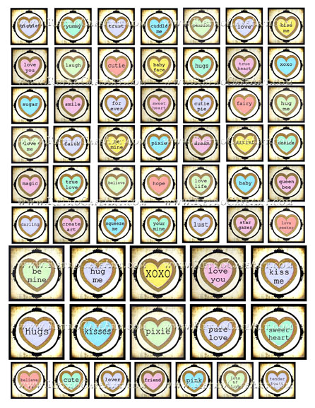 Assorted Squares Candy Hearts Collage Sheet by Debrina Pratt - DP312