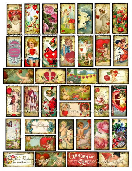 1 x 2 Inch Valentine Domino Collage Sheet by Debrina Pratt - DP313