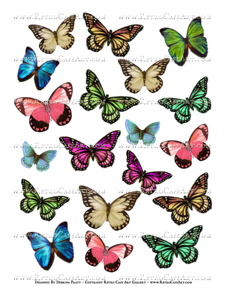 Colorful Butterflies Collage Sheet by Debrina Pratt - DP335