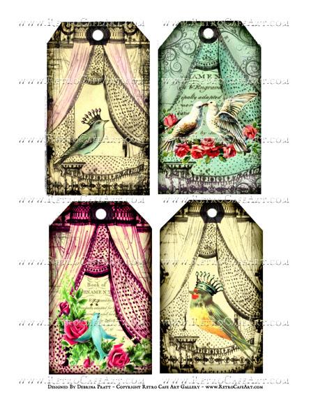 Colorful Bird Tags Collage Sheet by Debrina Pratt - DP336