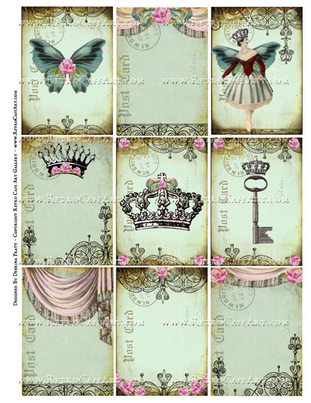 Regal Postcard Backgrounds ATC Size Collage Sheet by Debrina Pratt - DP338