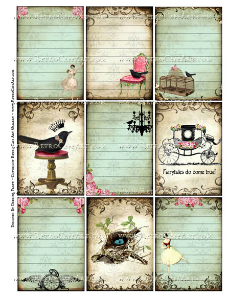 Fairytale Cards ATC Size Collage Sheet by Debrina Pratt - DP339