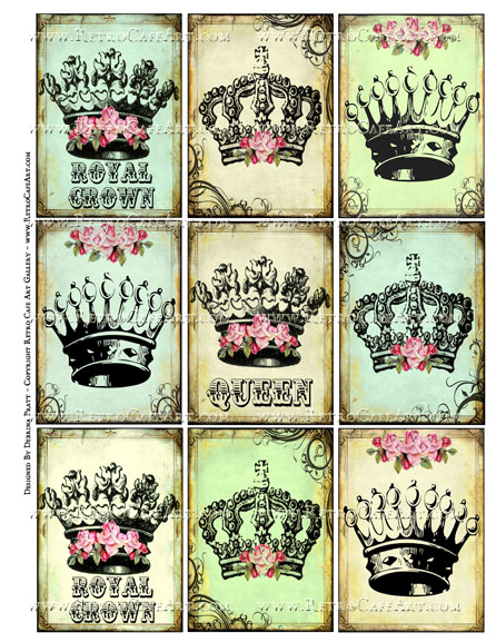 Vintage Crown ATC Size Collage Sheet by Debrina Pratt - DP340