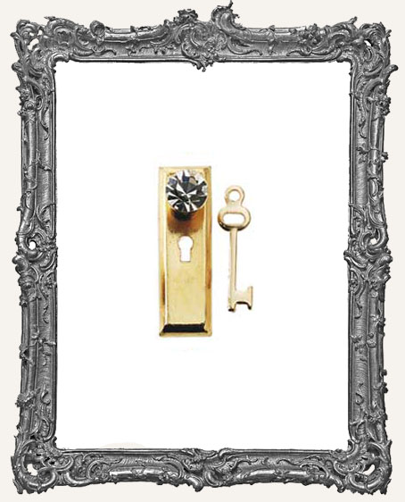 Tiny Brass Door Knob Key Plate and Key - Traditional Crystal Knob
