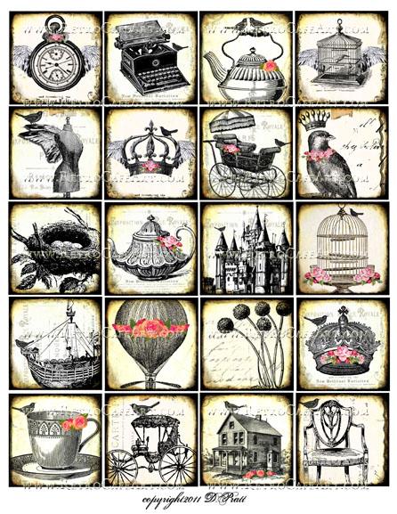 2 Inch Vintage Squares Collage Sheet by Debrina Pratt - DP310