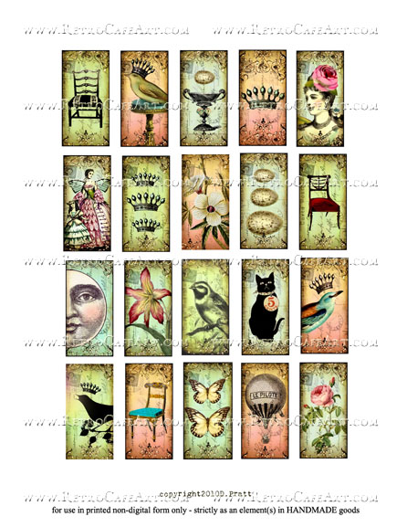 1 x 2 Inch Domino Collage Sheet by Debrina Pratt - DP318