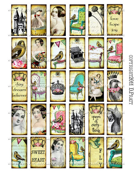 1 x 2 Inch Domino Collage Sheet by Debrina Pratt - DP319