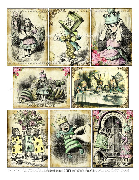 Alice in Wonderland ATC Size Collage Sheet by Debrina Pratt - DP322